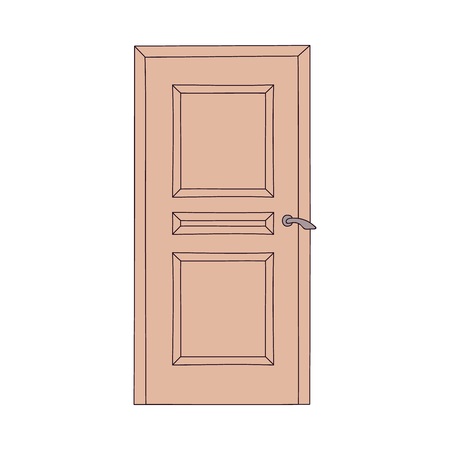 Front or inner house elegant door the classic element in architecture cartoon style vector illustration isolated on white background. Doorway of home interior icon.