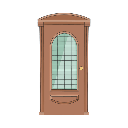 Front door to house with stained glass the entrance in architecture cartoon style vector illustration isolated on white background. Doorway of home interior icon.