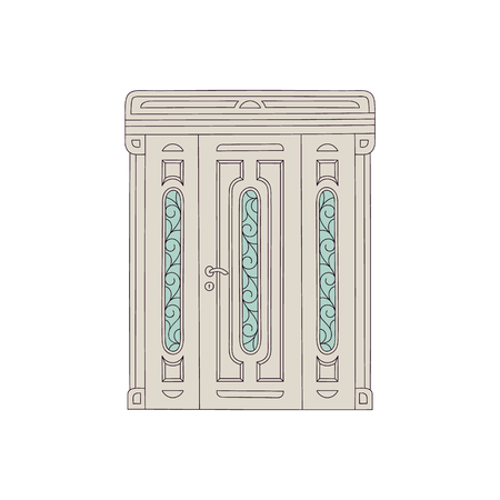 Ornate three-piece door, antique architecture exterior doorway with decorative glass panels, elevator entrance in medieval fantasy style, isolated flat vector illustration on white background