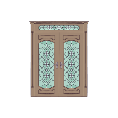 Brown double house door with stained glass, vintage architecture design with classic wood frame, elegant ornament pattern and decoration elements, isolated flat vector illustration Vectores