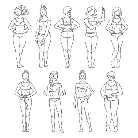 Women or girls of different body shapes and weights from fat and overweight to thin anorexic in the underwear sketch style vector banner illustration isolated on white background. Иллюстрация