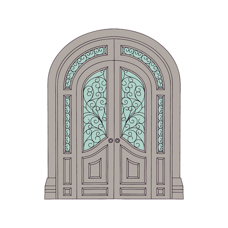 Ornate double door in old antique castle architecture style, building facade entrance with decorated stained glass and fantasy fairytale exterior, isolated vector illustration on white background