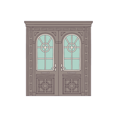 Beautiful drawing door of house and building with glasses and arches in old vintage traditional design. Drawn front architecture, retro door with entrance. Isolated vector illustration. Иллюстрация