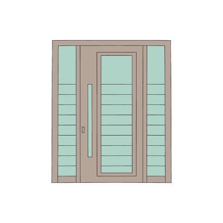 Drawing metal door of house and building with glasses in modern design. Drawn front architecture, modern door of home with entrance. Isolated vector illustration. Illustration