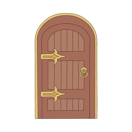 Drawn massive wooden door in an old ancient medieval design. Drawing front architecture, vintage medieval door with entrance, isolated vector illustration.