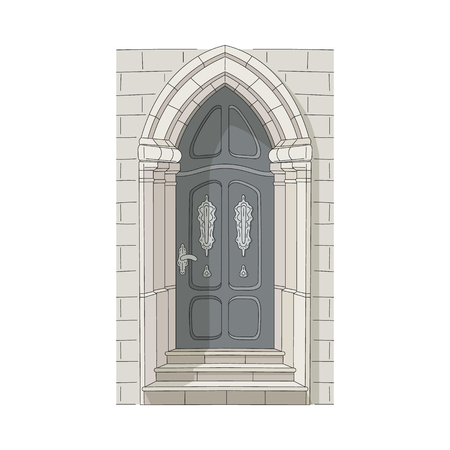 Beautiful drawing door of house and building with stone arch, stairs and wall in old vintage traditional design, isolated vector illustration.