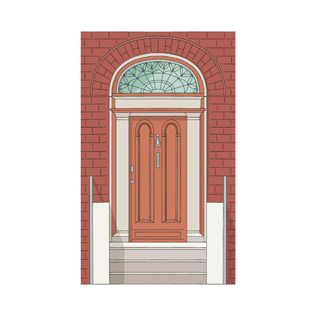 Drawing door of house and building with stained glass, stone staircase and brick wall in old vintage traditional design. Isolated vector illustrationon white background. Illustration