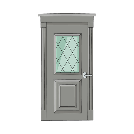 Beautiful drawing door of house and building with glasses in old vintage traditional design. Drawn front architecture, retro door with entrance, isolated vector illustration on white background.