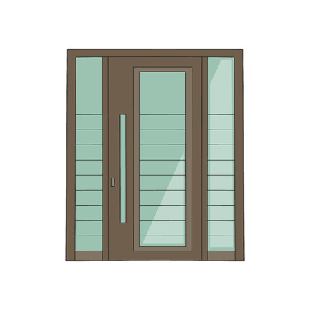 House door the modern building in minimalist style element sketch vector illustration isolated on white background. Home and building entrance architecture element.