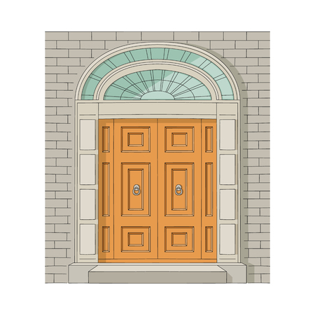 Vintage wooden house door or the entrance to the building, decorated with decorative panels with massive handles framed in a brick wall sketch vector illustration.
