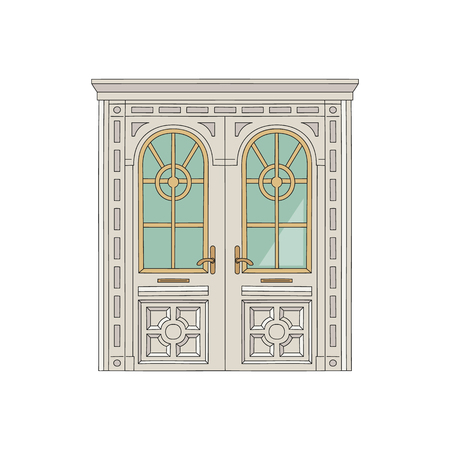 Antique wooden white house door or the entrance to the building, palace or residence ornate with carvings and stained glass windows sketch vector illustration. Иллюстрация