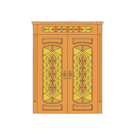 Wooden house door or the building entrance in the old art style, decorated with carvings and stained glass windows sketch vector illustration isolated on white background. Иллюстрация