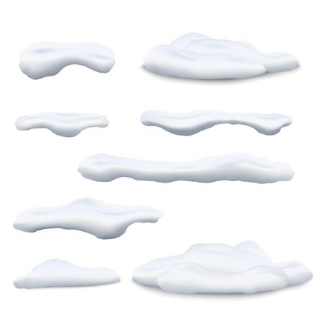 Set di berretti da neve e cumuli di neve 3d illustrazioni vettoriali realistiche isolate su sfondo bianco. Elementi decorativi invernali per Natale e Capodanno e design di vendita promozionale.