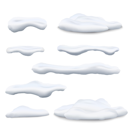 Set of snow caps and snowdrifts 3d realistic vector illustrations isolated on white background. Winter decorative elements for christmas and New Year and promo sale design.