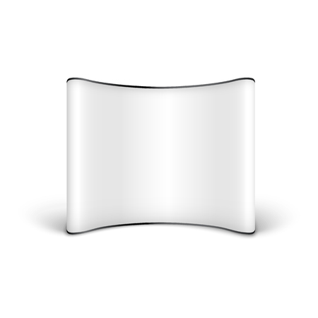 White blank advertising pop up banner with curved empty display, realistic template for show or exhibition posters or announcement, isolated vector illustration on white background