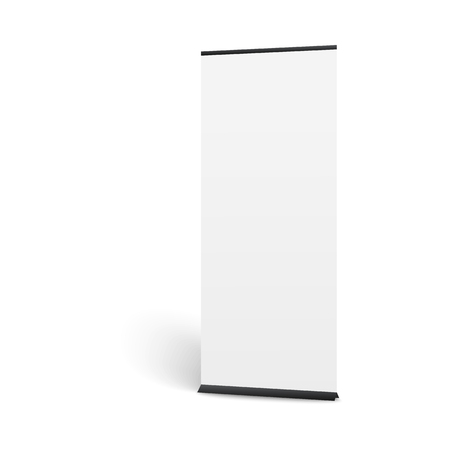 Realistic vertical pop up banner mockup. Long white poster display for board presentation or show promotion, blank template for advertising, isolated vector illustration on white background.