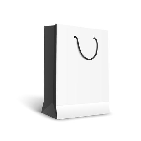Black and white paper shopping bag mockup, realistic template of retail shopping buy symbol with empty space for shop merchandise or logo, isolated vector illustration on white background
