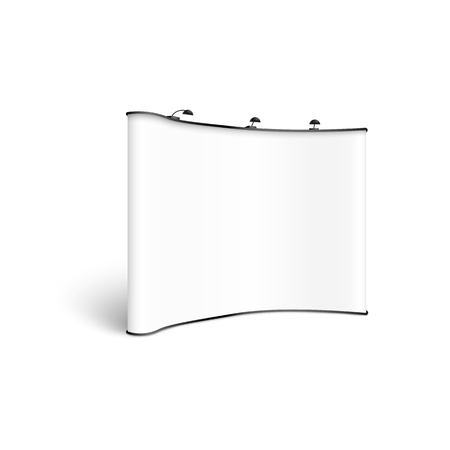 Mockup of blank white concave exhibition stand with spotlights realistic style, vector illustration isolated on white background. Template of empty curved show booth billboard or popup banner