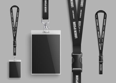 Realistisch ID-kaartmodel met blanco foto en naamidentificatiebadge. Set van identiteitspas lanyard onderdelen ontwerp close-up met plastic gesp op zwarte nekriem - geïsoleerde vectorillustratie
