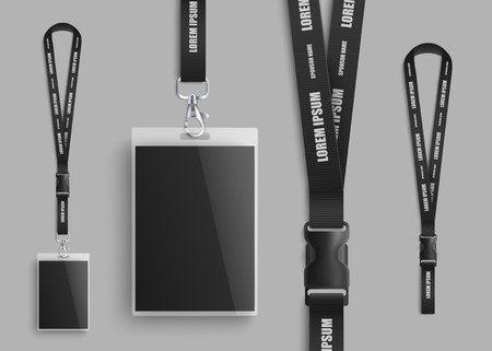 Realistic ID card mockup with blank photo and name identification badge. Set of identity pass lanyard parts design closeup with plastic clasp on black neck strap - isolated vector illustration Illustration