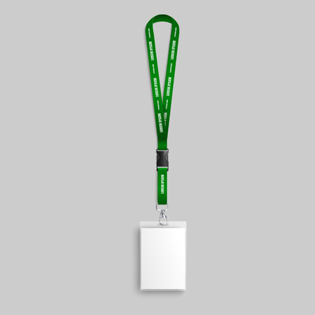 Realistic green identity card lanyard mockup with blank id badge and text template on neck strap. Corporate security identification pass for business event - isolated vector illustration