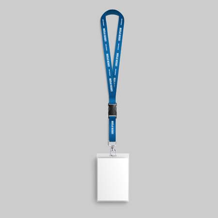 Realistic blank badge on blue lanyard with identification and pass card for name holder. Mockup and blank template for plastic badge on strap, vector illustration.