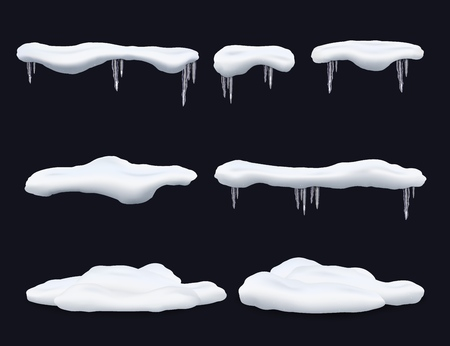 Set of frost snow caps with icicles and snowdrifts realistic style, vector illustration isolated on black background. Winter seasonal icy effect decorative element for design Ilustrace