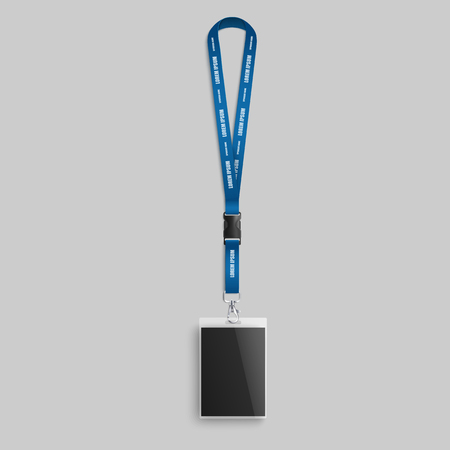 Blank ID card with blue neck strap - realistic mockup of plastic lanyard template for corporate brand identity, name identification badge for event access, isolated vector illustration. Illustration