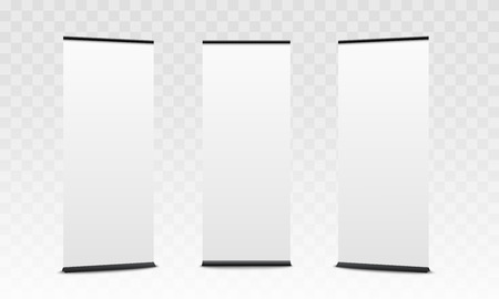Set of vertical commercial stand mockups, empty white pop up promotion banners for commercial show poster or promotional presentation - isolated realistic 3D vector illustration Illustration