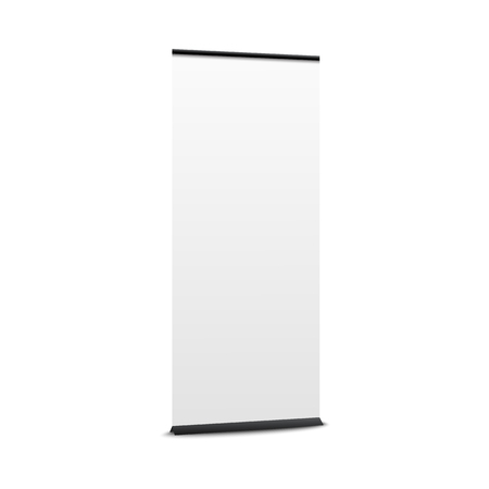 Blank pop up banner mockup. Commercial vertical stand with white empty space for promotion or product advertisement display, realistic show placard isolated vector illustration on white background.