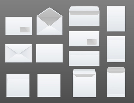 Mockups set of white blank envelopes different types realistic style, vector illustration isolated on gray background. Templates of front and back side open and closed mail and office envelopes
