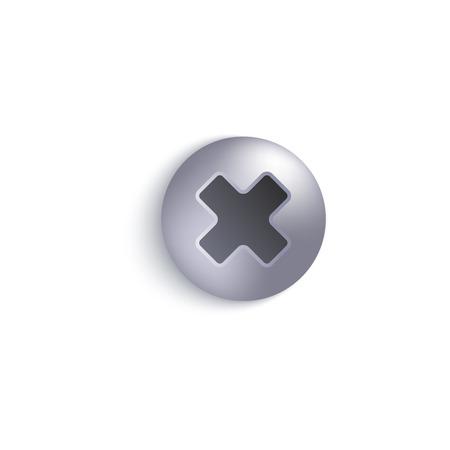 Draufsichtkopf der Schraube oder des Bolzenmetalls in Silber- oder Stahlschatten 3d realistische Vektorillustration lokalisiert auf einem weißen Hintergrund. Niete Komponenten des Grafikdesigns.