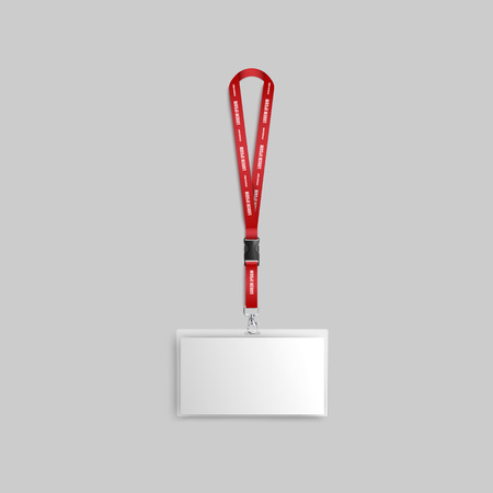 Blank white wide badge or identification business card with red ribbon 3d realistic mockup vector illustration on neutral background. Template of id presentation label. 向量圖像