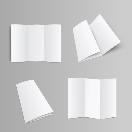 Blank trifold pages brochure, booklet or leaflet folded and unfolded front and opposite side 3D realistic mockup vector illustration on grey background with clipping pass.