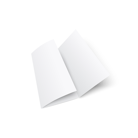 Blank white trifold brochure or leaflet 3d realistic mockup vector illustration isolated on white background. The paper element of corporate stationery kit for presentation.