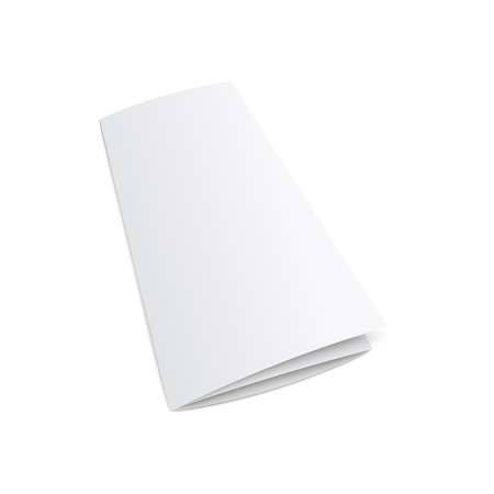 Outer side of blank white trifold brochure or leaflet 3d realistic mockup vector illustration isolated on white background. The paper element of corporate stationery kit. Фото со стока - 124282662
