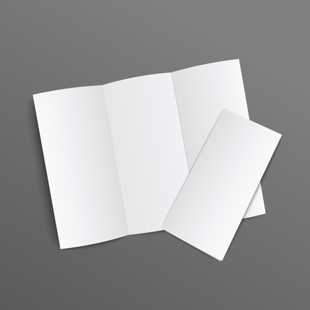 Blank trifold leaflet realistic mockup, white brochure type document with three folds open and closed. Flat lay view of empty paper pamphlet isolated on dark background, vector illustration