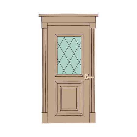Brown door with wooden frame and glass window, classic architecture element with wood decorations, front of a traditional doorway isolated on white background, flat cartoon vector illustration Ilustrace