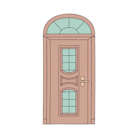Elegant vintage door with arch frame and classical glass panels, wooden door design in European architecture style, house entryway front isolated on white background, vector illustration Illustration