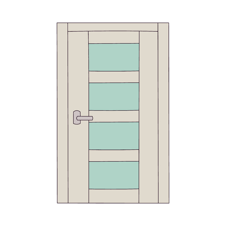Bright color door with matte glass panels, house entrance with rectangle doorway and corporate style, simple home security design seen from exterior, flat isolated vector illustration