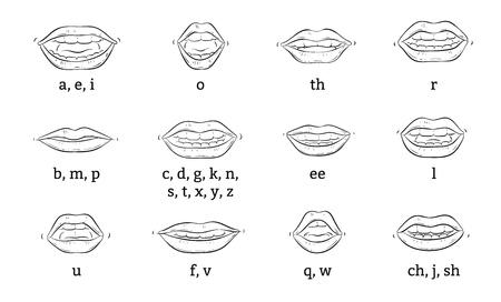 La posizione corretta delle labbra e della lingua quando si pronunciano suoni o si articola un poster educativo vettoriale o un'illustrazione di schizzo di banner isolato su priorità bassa bianca.