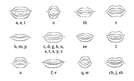 The correct position of the lips and tongue when pronouncing sounds or articulation a vector educational poster or banner sketch illustration isolated on white background. 矢量图像