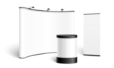 Eine Reihe von Ständern, Displays, Pop-Up und Roll-Up, Vorlage und Modell für Banner. Leeres realistisches Modell von Ständen, Displays und Pop-Ups für Geschäftspräsentationen und Ausstellungen. Vektor-Illustration.