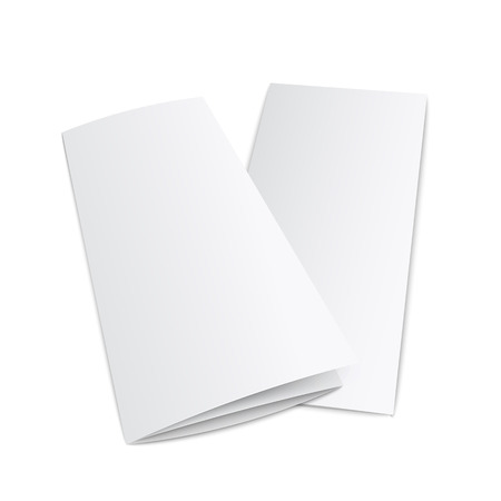 Blank trifold paper leaflet from side view - realistic mockup of empty white three fold documents isolated on white background. Advertising booklet lying on surface vector illustration