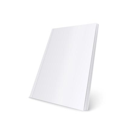 Maqueta de estilo realista de revista de tapa blanda blanca en blanco permanente, ilustración vectorial aislado sobre fondo blanco. Plantilla 3D de libro de bolsillo o folleto o catálogo en vista de tres cuartos Logos