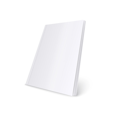 Mockup of standing blank white soft cover magazine realistic style, vector illustration isolated on white background. 3d template of paperback book or brochure or catalog in three quarters view