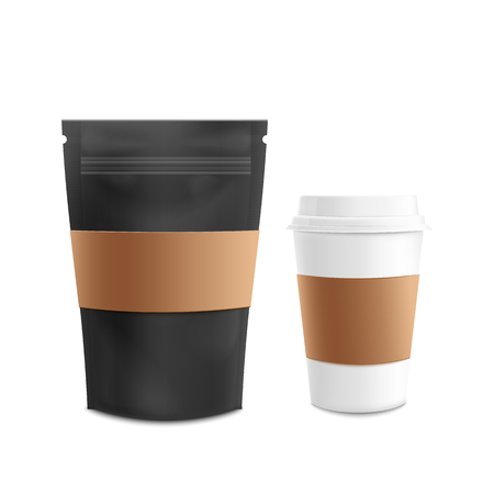 Mockup set of standing blank black zip bag and white plastic cup realistic style, vector illustration isolated on white background. 3d template of front view zip lock pouch package and coffee cup