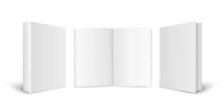 Blanc book or catalog mockup in front and back cover view, also an open page 3d vector illustration isolated on white background. Template to presentation cover design.