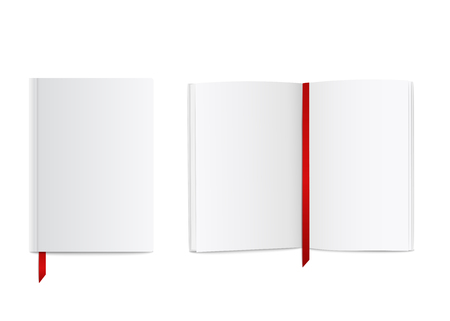 Blank realistic book mockup with red ribbon bookmark, open and closed white diary or notebook design with empty pages and cover, isolated paper object vector illustration on white background