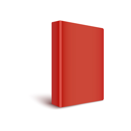 Mockup of blank red cover book stands by turning spine to front realistic style, vector illustration isolated on white background. 3d template of color closed hardcover book in three quarters view Çizim